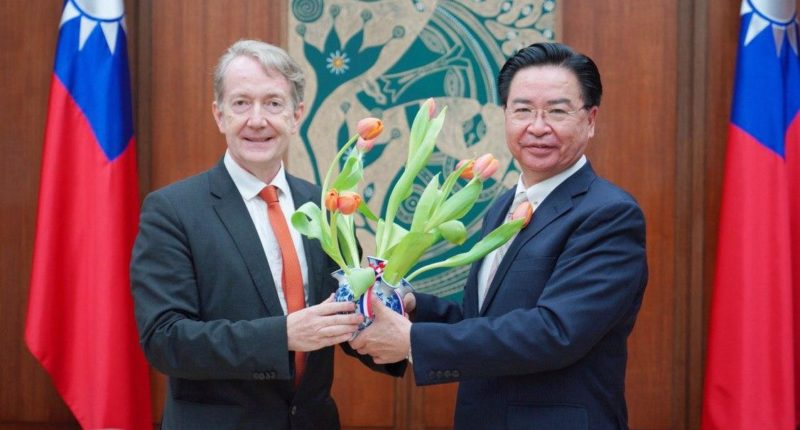 Taiwanese Foreign Minister Joseph Wu with Guy Wittich