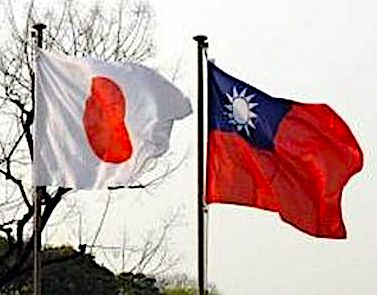 The flags of Japan and Taiwan