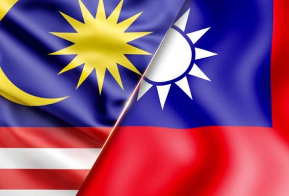 overlapping Malaysian and Taiwanese national flags